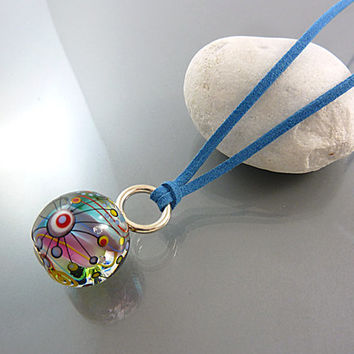 Marble Bead Pendant, Hand Blown Glass, Boho Chic Jewelry, Rainbow, Lampwork Bead, Murano, Melanie Moertel, Charm, Statement Necklace, SRA