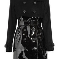Burberry London | Wool-blend and patent trench coat | NET-A-PORTER.COM