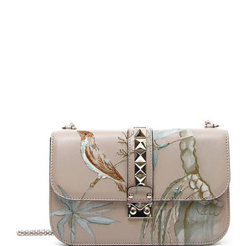 Valentino Rockstud Medium Lock Embroidered Leather Bag, Beige