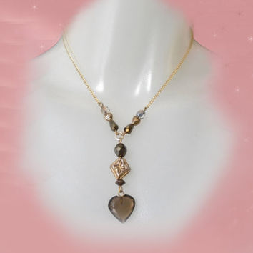Vintage Y Necklace - Smoky Crystal Heart -  OOAK made with Vintage