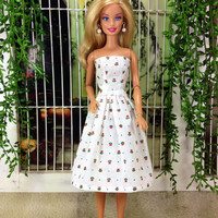 Handmade Flowered Barbie Doll Dress - White Dress with Red Flowers