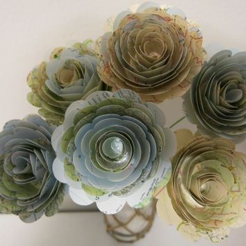 6 World Atlas Maps on Stems, Travel Theme Party Centerpiece, Single Paper Flowers