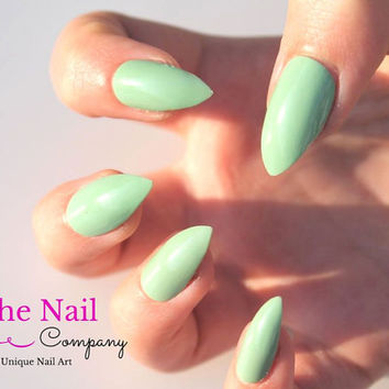 Glossy Mint False Nails Set - Handpainted Fake Nails - as Stiletto Nails, Oval Nails or Square Nails, Mint Green Artificial Nails,  Nail Art