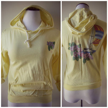 80s Ocean Pacific hoodie pullover vintage light yellow floral sailboat print ladies size M medium hipster surfer 1980s retro OP blouse top