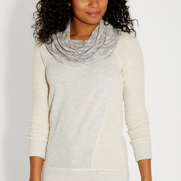 french terry pullover with marled cowl neck