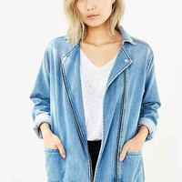Silence + Noise Drapey Denim Moto Jacket