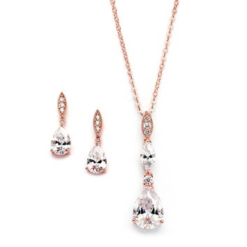 14K Rose Gold Plated Teardrop CZ Wedding Necklace and Earrings Set for Bridal or Bridesmaids