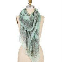 Mint Scroll Print Scarf