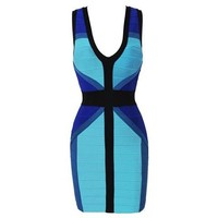Plunging Neck Crossing Bandage Mini Dress