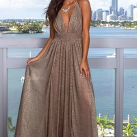 Bronze Maxi Dress with Shimmer Detail
