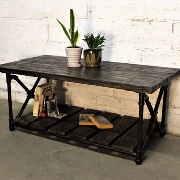 Houston Coffee Table In Black Steel Combo With Dark Brown Stained Wood