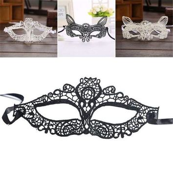 ac ICIKO2Q Halloween Masquerade Lady Black White Lace Mask hollow out Catwoman sep929 Professional High quality Drop shipping
