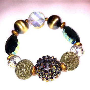 Gold and Green Statement Bracelet