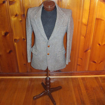 Vintage 70s Sport Jacket / Harris Tweed / Men's Coat / Scottish Wool / Handwoven / USA made