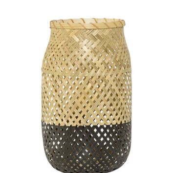"""Bamboo Candle Holder with Glass Insert - 11.75"""" Tall x 7"""" Diameter"""