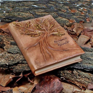 Leather Wedding Guest book wood, Personalized  luxury notebook, book anniversary, Tree of love and life, brown leather book, leather book,