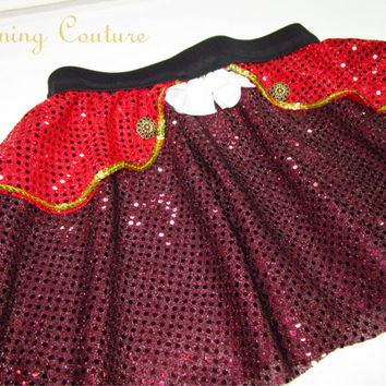 Captain Hook Inspired Sparkle Running Misses Round skirt Peter Pan