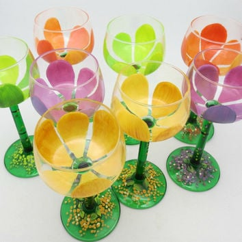 Set of 8 hand painted dessert or wine glasses - Made in France - Garden of Spring colors - Tulip type flowers - Designed stem and pedestal