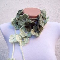 Hand crochet Lariat Scarf  Green  White Flower Lariat Scarf Colorful Variegated Long Necklace Winter Fashion