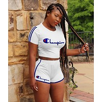 Champion Fashionable Women Casual Print Shorts Sleeve Top Shorts Two Piece White