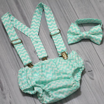 Aqua Chevron Suspenders, bow tie and Diaper cover set. Boy Photo prop cake smash, wedding, church,Easter