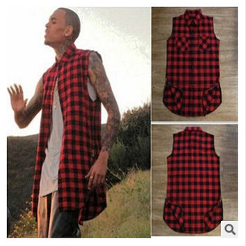 Black White Red Plaid XXXL Long Back Zipper Streetwear Swag Man Hip Hop Skateboard Tyga T-shirt T shirt Top Tees Men Clothing