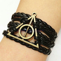 Harry Potter Hallows Bracelet,Infinity Bracelet,Friendship Gift,Cosplay Gift,Fashion Jewelry, Wrap Bracelet C-002