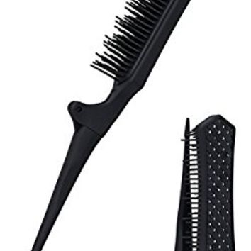 Mini Teasing comb rat tail Brush, Folding Portable Backcombing Detangling Hair Comb