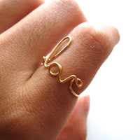"Wire ""Love"" Ring (available in gold, silver, and copper)"