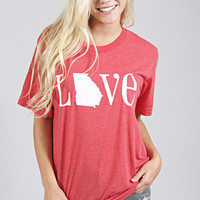 charlie southern: classic state love tee - georgia [red]
