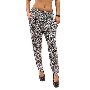 New Casual Paisley Print Harem Stretch Ankle Length Pants One Size (SML) KP02