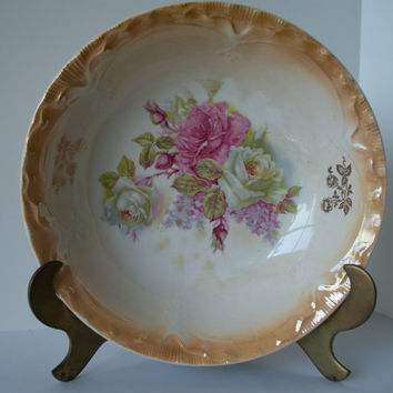 Antique Rare Porcelain Serving Bowl with Cabbage Roses and Yellow Luster Trim by Wellsville China Company