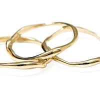 10K Gold Seagrass Stack Rings, Bands