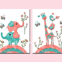 Baby girl nursery wall decor toddler art kids room poster playroom artwork print newborn shower gift turquoise salmon elephants giraffe