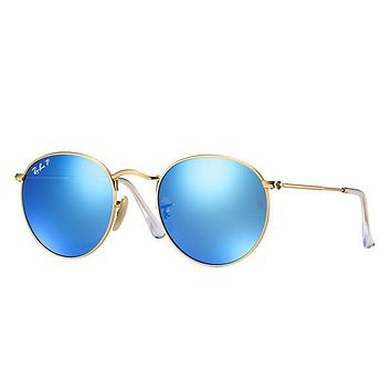 Ray Ban Round Sunglass Matte Gold Blue Polarized Mirrored Rb 3447 112/4l | Best Deal Online