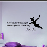 Peter Pan Second star childrens vinyl decal wall word art sticker decor 30i