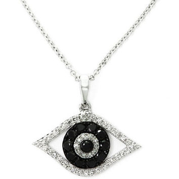Effy Caviar Black Diamond Evil Eye Pendant in 14 Kt White Gold
