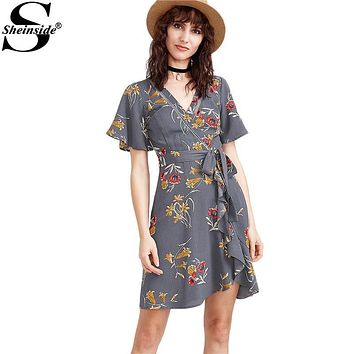 Sheinside Floral Beach Summer Dress Women Grey Vintage Cute Flutter Sleeve Tie Waist Mini Dresses 2017 Wrap V Neck Casual Dress