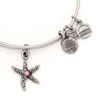 Alex and Ani Breast Cancer Starfish Arms of Strength Expandable Wire Bangle Russian Silver