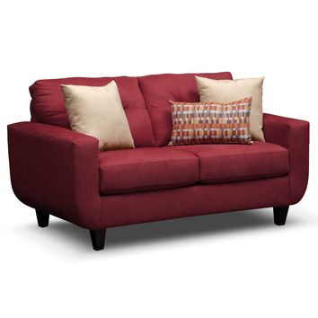 West Village Red Upholstery Loveseat - Value City Furniture