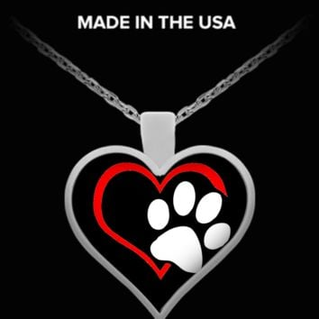 A Must Have - Dog Paw Heart Necklace! dogphn