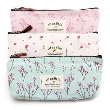Floral Pencil Pen Canvas Case Cosmetic Makeup Tool Bag Storage Pouch Purse