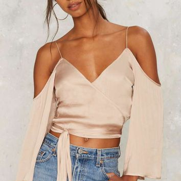 Wrap Battle Cold Shoulder Top