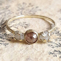 Delicate Red Diamond and Yellow Gold Ring - Rough Diamond Ring - Rose Cut Diamond Engagement Ring - Solid Gold Ring - Three Stone Ring