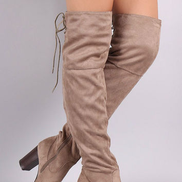 Over the Knee Lace Up Boots with Heel - Taupe