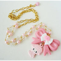 My Melody Lala Pastel Pink Pearl Fairy Kei Necklace in Gold