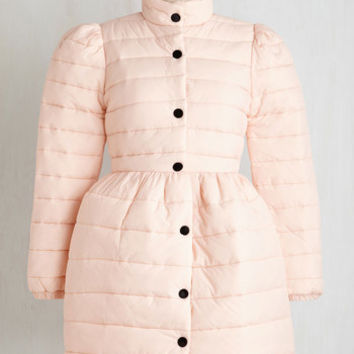 80s Long Long Sleeve Can't Flurry Love Coat in Blush