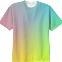 Trendy Ombre Pastel Pink Blue Yellow Color Mix Summer Tee Shirt Top created by Pasion4Fashion | Print All Over Me