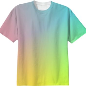 Trendy Ombre Pastel Pink Blue Yellow Color Mix Summer Tee Shirt Top created by Pasion4Fashion   Print All Over Me