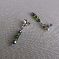 Peridot and Emerald Crystal Dragonfly and Dogwood Earrings